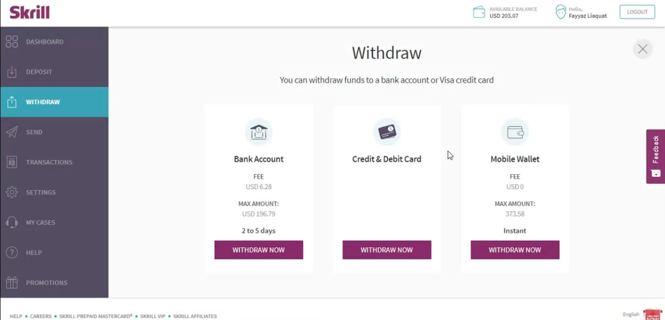Withdrawing money from Skrill